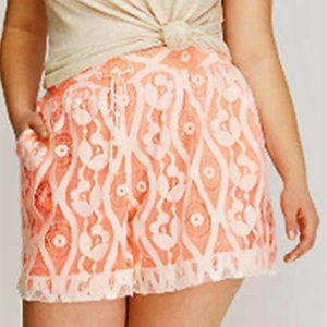 3X new Lane Bryant lace Overlay Shorts Tassel tie